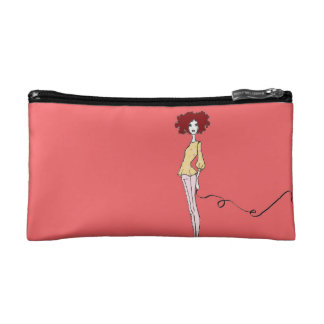 Fabulous fashion Girl with Chic French Bull Dog Makeup Bag