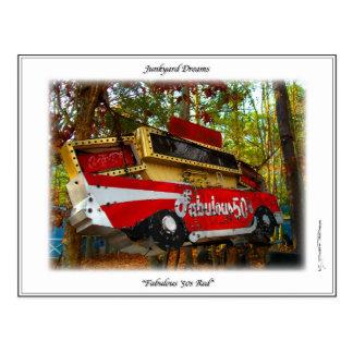 Fabulous Fifties 57 Chevy Belair Junkyard Sign Postcard