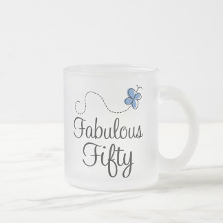 Fabulous Fifty Blue Butterfly Birthday Gift Frosted Glass Coffee Mug