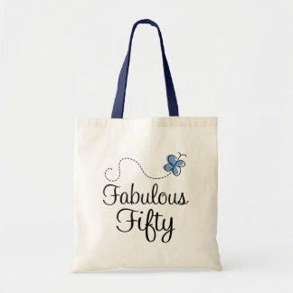Fabulous Fifty Blue Butterfly Birthday Gift Tote Bag