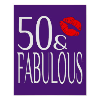 Fabulous Fifty in Purple Poster