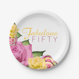 Fabulous Fifty Pink | Yellow Floral 50th Birthday Paper Plate