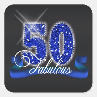 Fabulous Fifty Sparkle Square Sticker