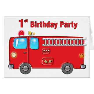 Fabulous Fire Truck 1st Birthday Greeting Cards