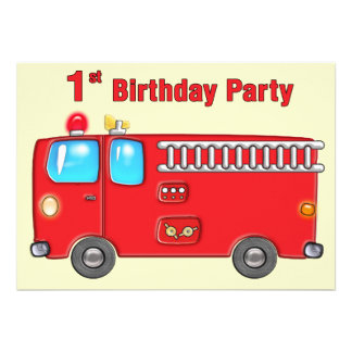 Fabulous Fire Truck 1st Birthday Personalized Announcements