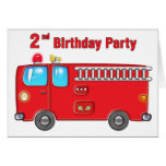 Fabulous Fire Truck 2nd Birthday Greeting Card