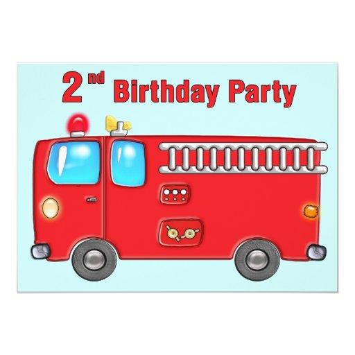 Fabulous Fire Truck 2nd Birthday 5x7 Paper Invitation Card