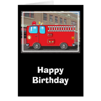 Fabulous Fire Truck and Fire Station Card