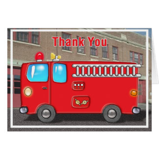 Fabulous Fire Truck and Station Thanks Card