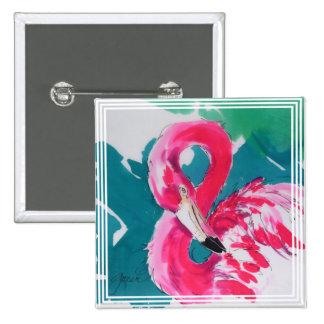 Fabulous Flamingo Art button pin
