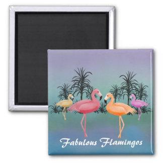 Fabulous Flamingos 2 Inch Square Magnet