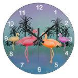 Fabulous Flamingos Clock