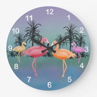 Fabulous Flamingos Clock