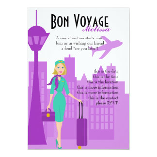 Fabulous Flight Attendant 5x7 Paper Invitation Card