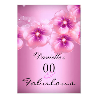 Fabulous Floral Flowers Pink Black Birthday 2 Card