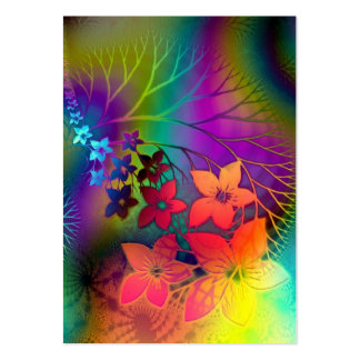 Fabulous Floral Fractural Rainbow Parade Large Business Card