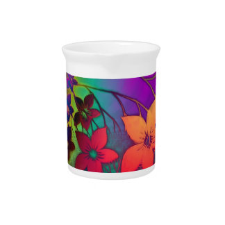 Fabulous Floral Fractural Rainbow Parade Drink Pitchers
