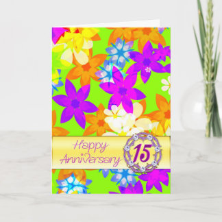 Fabulous flowers 15th anniversary for spouse card