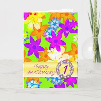 Fabulous flowers 1st anniversary for spouse card