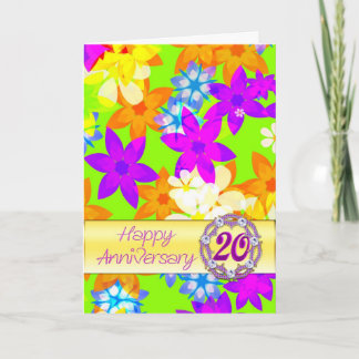 Fabulous flowers 20th anniversary for spouse card
