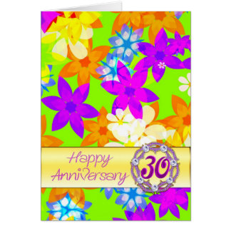 Fabulous flowers 30th anniversary for a couple card