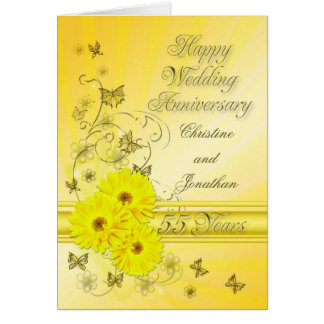 Fabulous flowers 55th anniversary for a couple greeting card