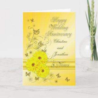 Fabulous flowers 5th anniversary for a couple card