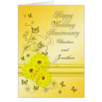 Fabulous flowers wedding anniversary for a couple card