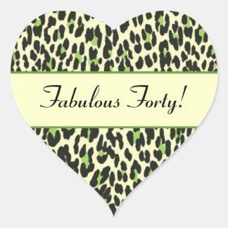 Fabulous Forty Green Leopard Birthday Heart Sticker