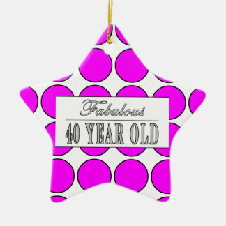 Fabulous Forty Year Old Pink Polka Dots Ceramic Ornament