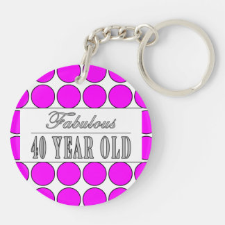 Fabulous Forty Year Old Pink Polka Dots Double-Sided Round Acrylic Keychain