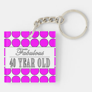 Fabulous Forty Year Old Pink Polka Dots Double-Sided Square Acrylic Keychain