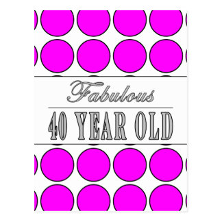 Fabulous Forty Year Old Pink Polka Dots Postcard