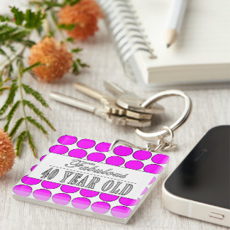 Fabulous Forty Year Old Pink Polka Dots Single-Sided Square Acrylic Keychain