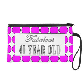 Fabulous Forty Year Old Pink Polka Dots Wristlet