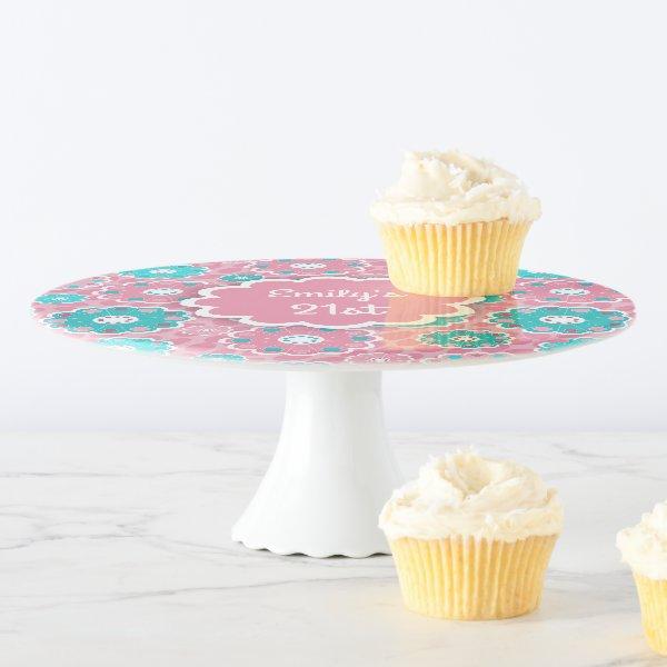 Fabulous fresh pink aqua modern floral cake stand