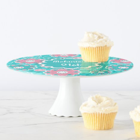 Fabulous fresh pink aqua modern floral cake stand