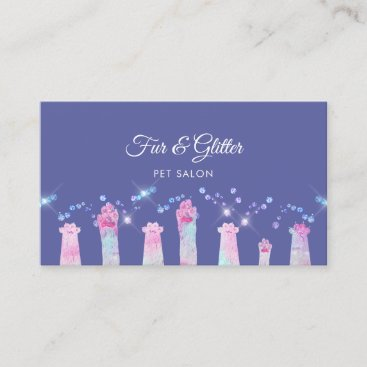 fabulous furry paws and faux glitter business card