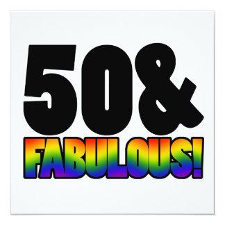 Fabulous Gay 50th Birthday 5.25x5.25 Square Paper Invitation Card