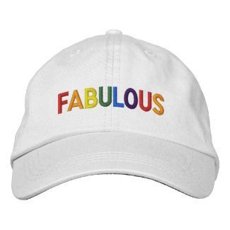 Fabulous Gay Pride Rainbow Text Embroidered Baseball Cap