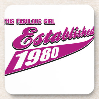 Fabulous Girl established 1980 Drink Coaster