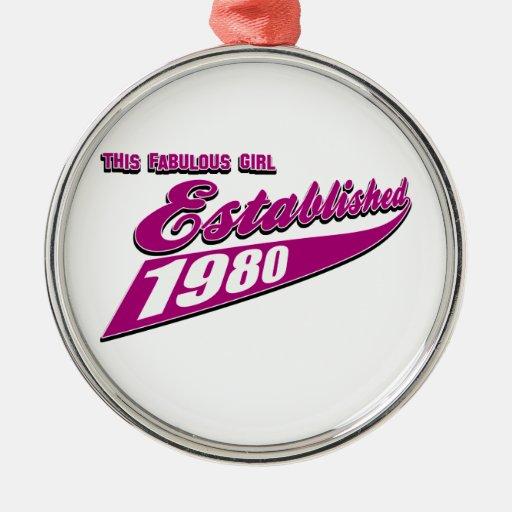 Fabulous Girl established 1980 Round Metal Christmas Ornament