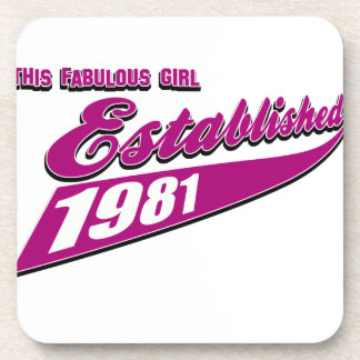 Fabulous Girl established 1981 Beverage Coasters