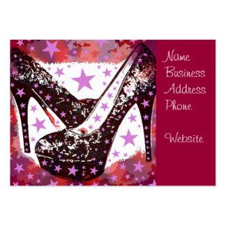Fabulous Glamourous Pink Purple High Heels Stars Business Card Templates