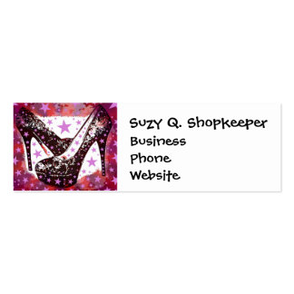 Fabulous Glamourous Pink Purple High Heels Stars Business Card Template