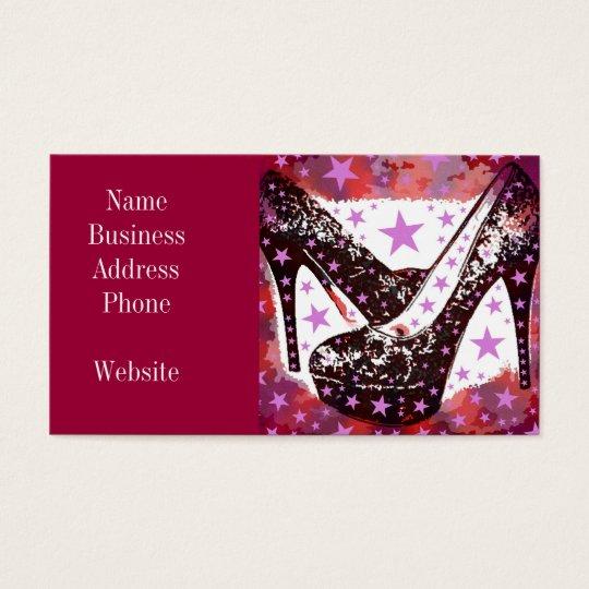 Fabulous Glamourous Pink Purple High Heels Stars Business Card