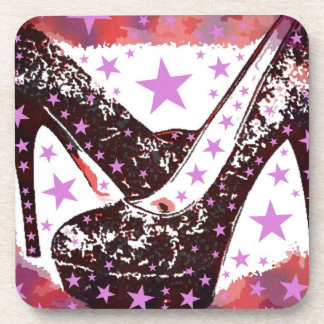 Fabulous Glamourous Pink Purple High Heels Stars Beverage Coaster