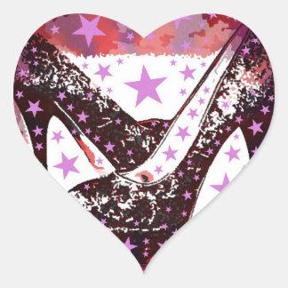 Fabulous Glamourous Pink Purple High Heels Stars Heart Sticker