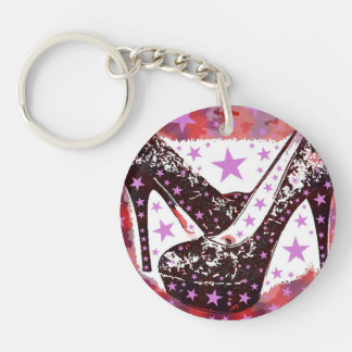 Fabulous Glamourous Pink Purple High Heels Stars Double-Sided Round Acrylic Keychain