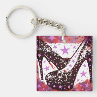 Fabulous Glamourous Pink Purple High Heels Stars Double-Sided Square Acrylic Keychain